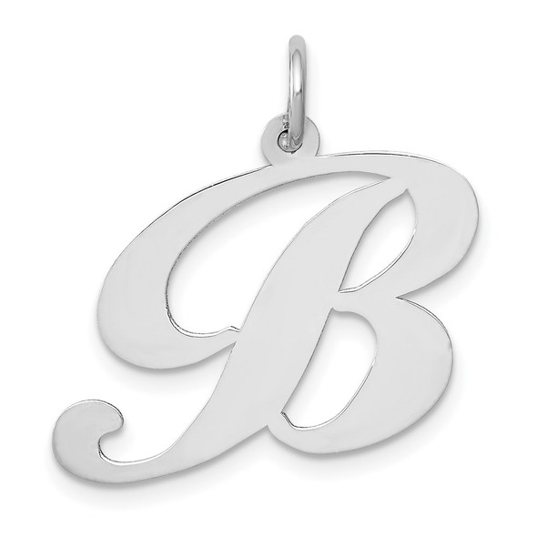 14K White Gold Large Fancy Script Initial B Charm