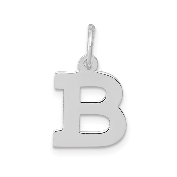 14K White Gold Small Block Initial B Charm