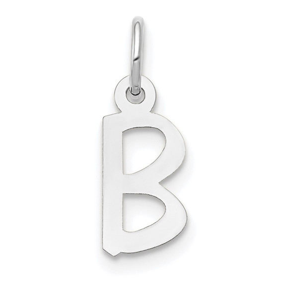 14K White Gold Small Slanted Block Initial B Charm