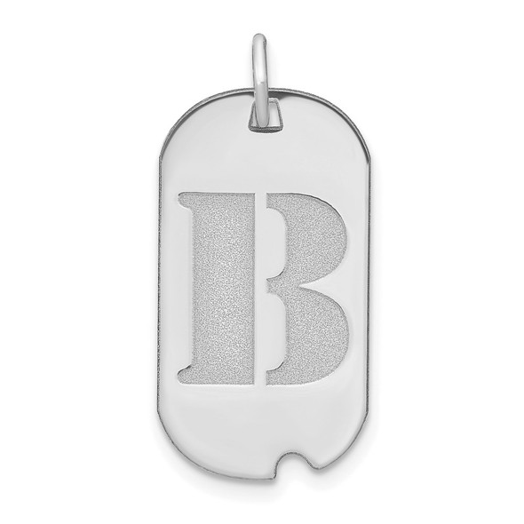 14k White Gold Polished Letter B Initial Dog Tag Charm