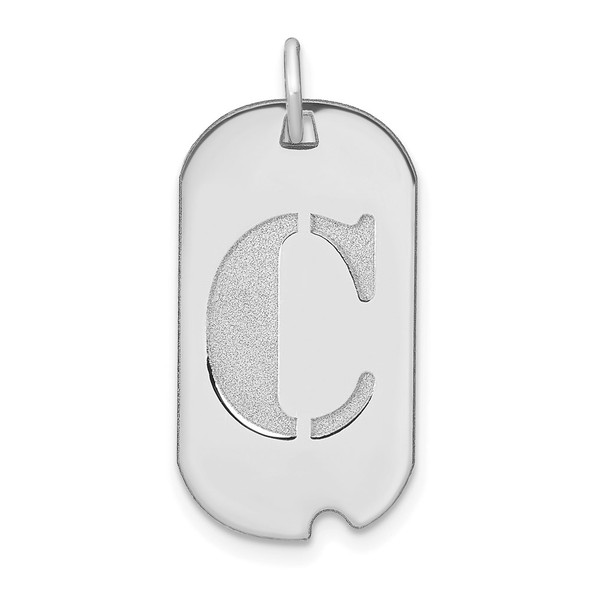 14k White Gold Polished Letter C Initial Dog Tag Charm