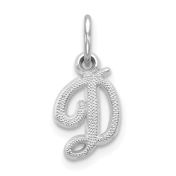 14k White Gold Casted Initial D Charm