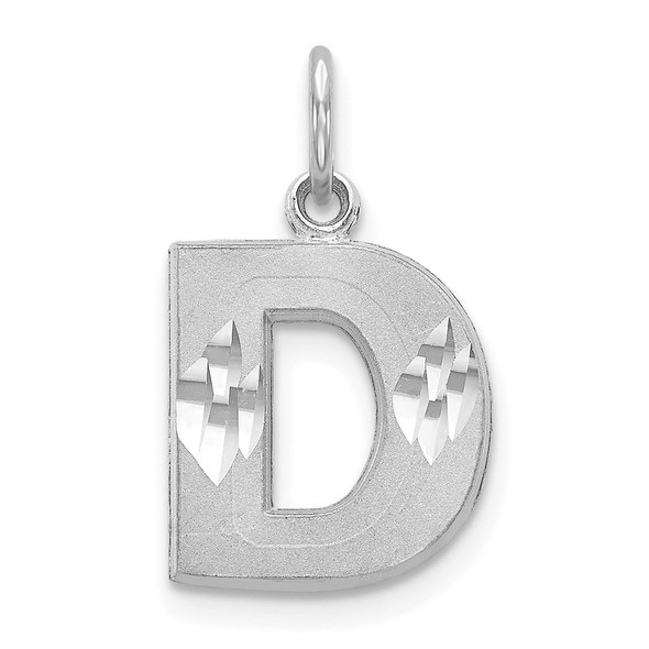 14K White Gold Satin Solid Diamond-cut Initial D Charm