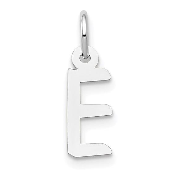 14K White Gold Small Slanted Block Initial E Charm