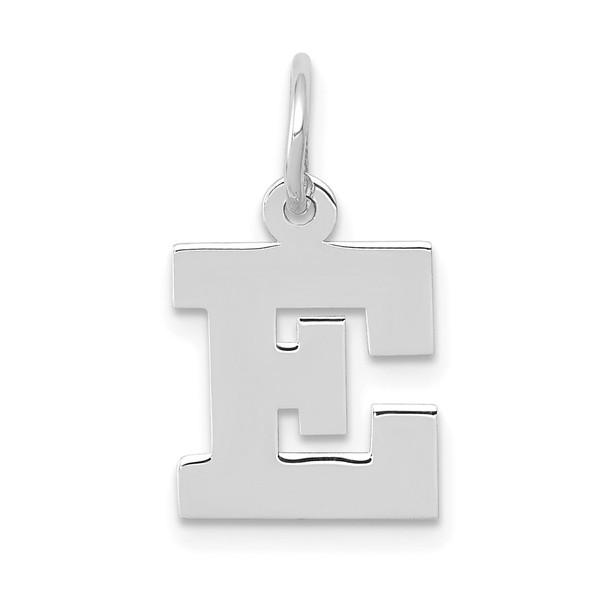 14K White Gold Small Block Initial E Charm