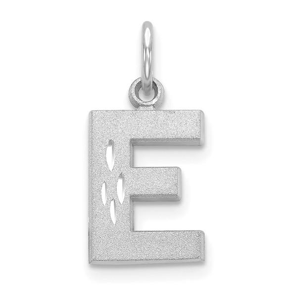 14K White Gold Solid Satin Diamond-cut Initial E Charm