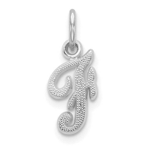 14k White Gold Casted Initial F Charm