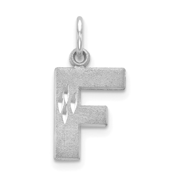 14K White Gold Solid Satin Diamond-cut Initial F Charm
