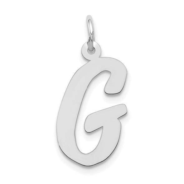 14K White Gold Large Script Initial G Charm