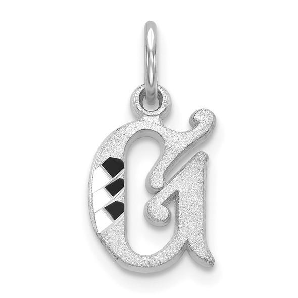 14K White Gold Diamond-cut Initial G Charm