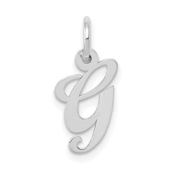 14K White Gold Small Fancy Script Initial G Charm