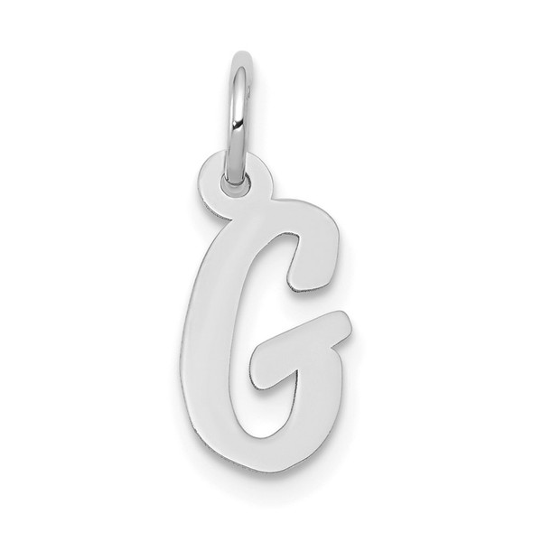 14K White Gold Small Script Initial G Charm
