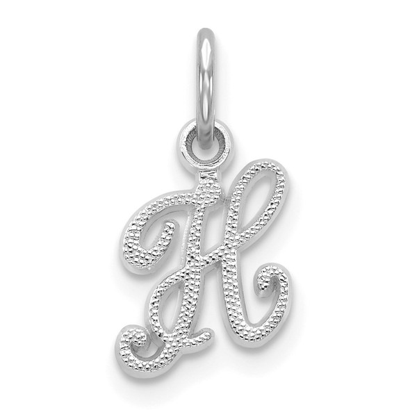 14k White Gold Casted Initial H Charm