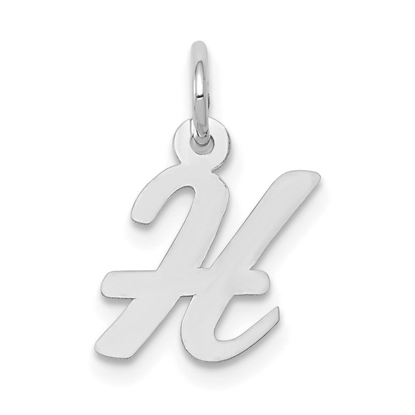 14K White Gold Small Script Initial H Charm
