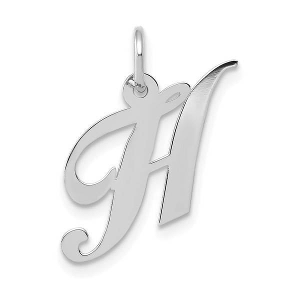 14K White Gold Small Fancy Script Initial H Charm