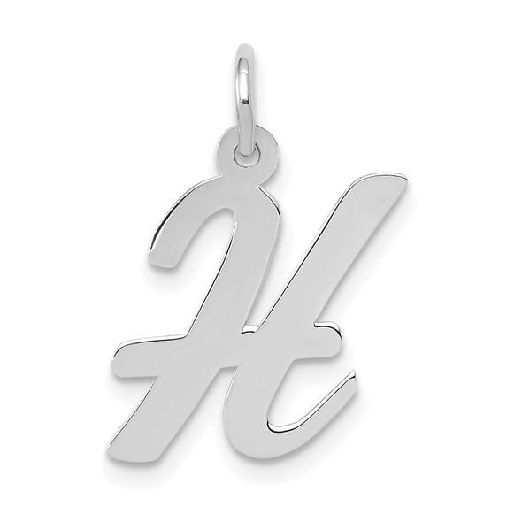 14K White Gold Medium Script Initial H Charm