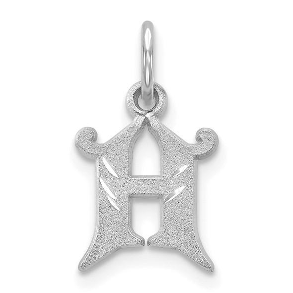 14K White Gold Diamond-cut Initial H Charm