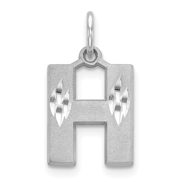 14K White Gold Solid Satin Diamond-cut Initial H Charm