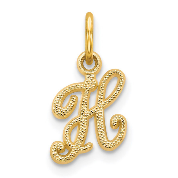 14k Yellow Gold Casted Initial H Charm