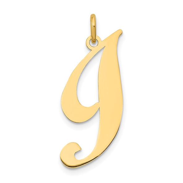 14k Yellow Gold Large Fancy Script Initial I Charm