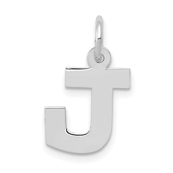14K White Gold Small Block Initial J Charm