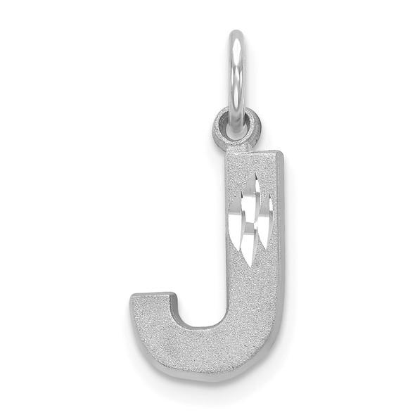 14K White Gold Solid Satin Diamond-cut Initial J Charm