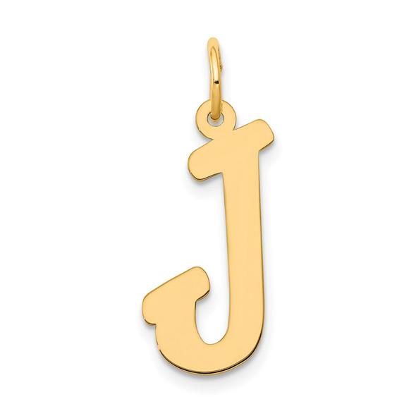 14k Yellow Gold Large Script Initial J Charm