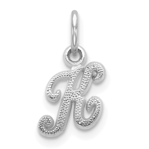 14k White Gold Casted Initial K Charm
