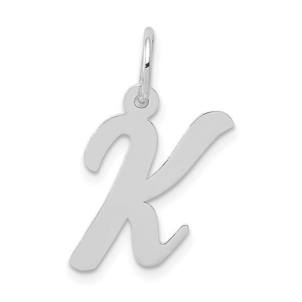 14K White Gold Medium Script Initial K Charm