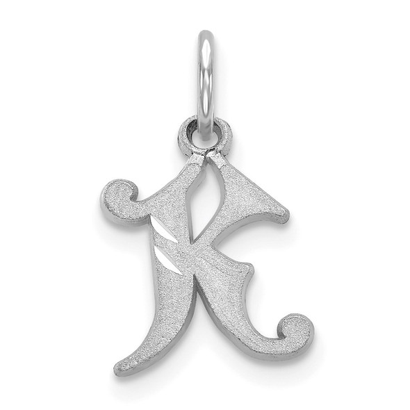 14K White Gold Diamond-cut Initial K Charm