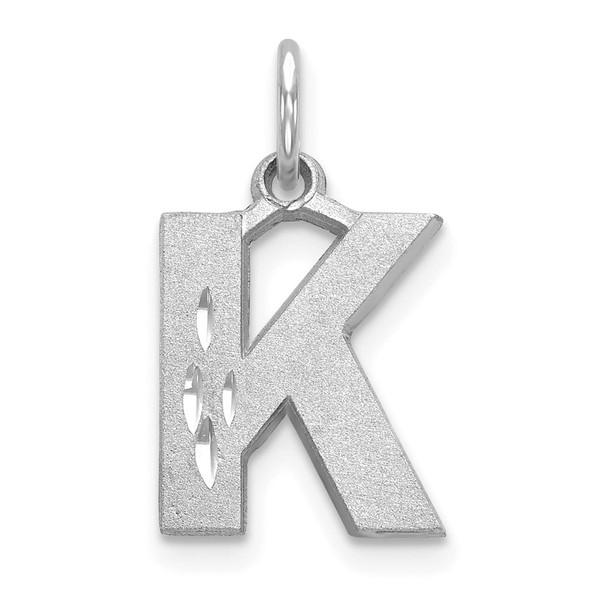 14K White Gold Solid Satin Diamond-cut Initial K Charm