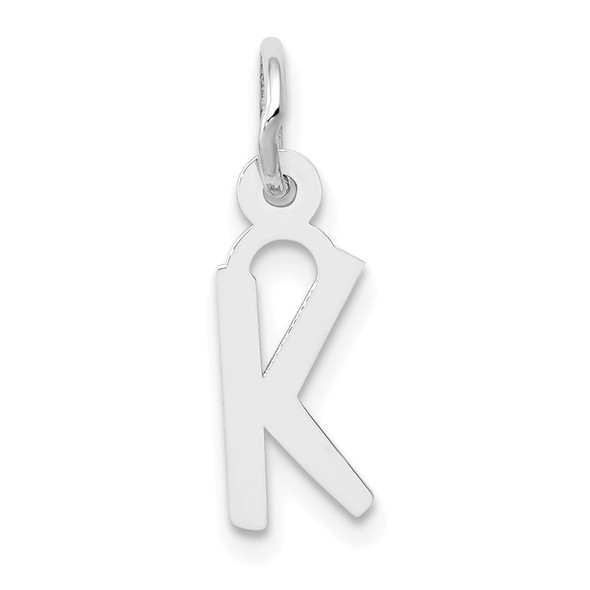 14K White Gold Small Slanted Block Initial K Charm