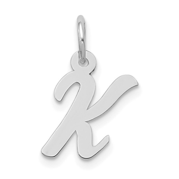 14K White Gold Small Script Initial K Charm