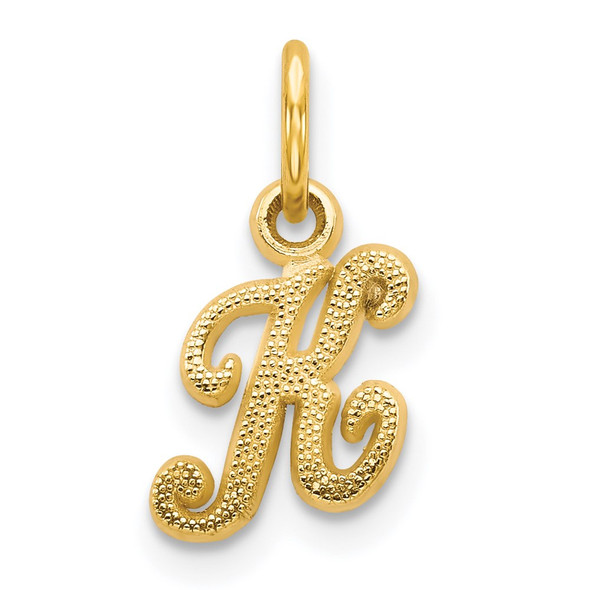 14k Yellow Gold Casted Initial K Charm