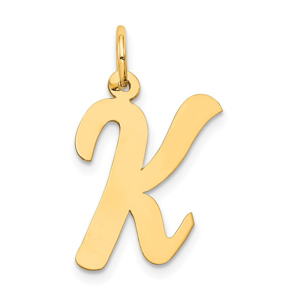 14k Yellow Gold Large Script Initial K Charm
