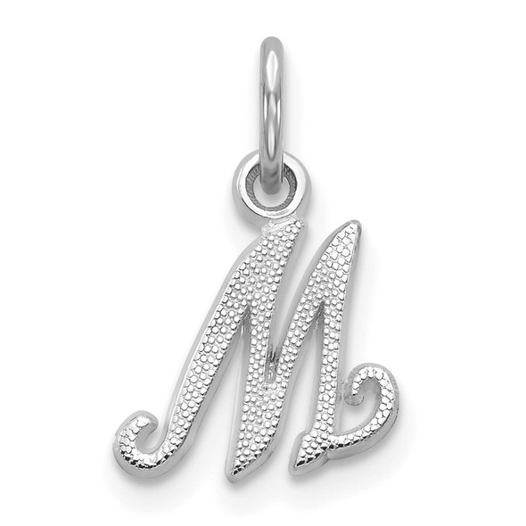 14k White Gold Casted Initial M Charm