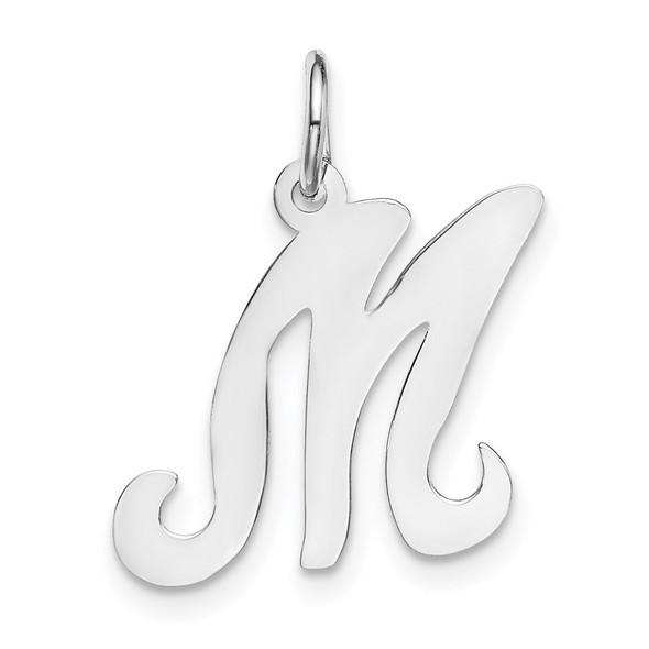 14K White Gold Initial M Charm