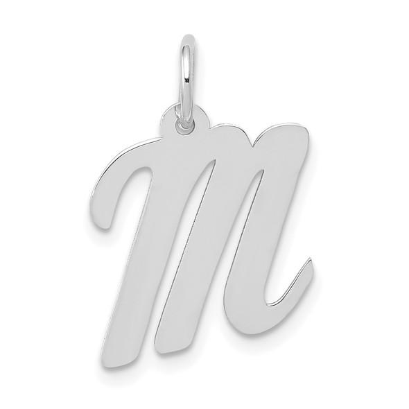14K White Gold Medium Script Initial M Charm