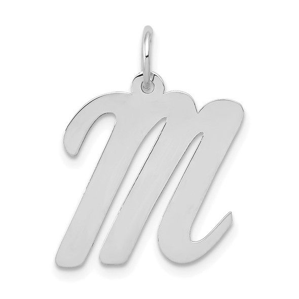 14K White Gold Large Script Initial M Charm