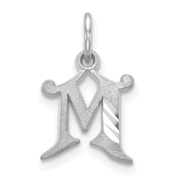 14K White Gold Diamond-cut Initial M Charm