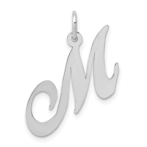 14K White Gold Medium Fancy Script Initial M Charm
