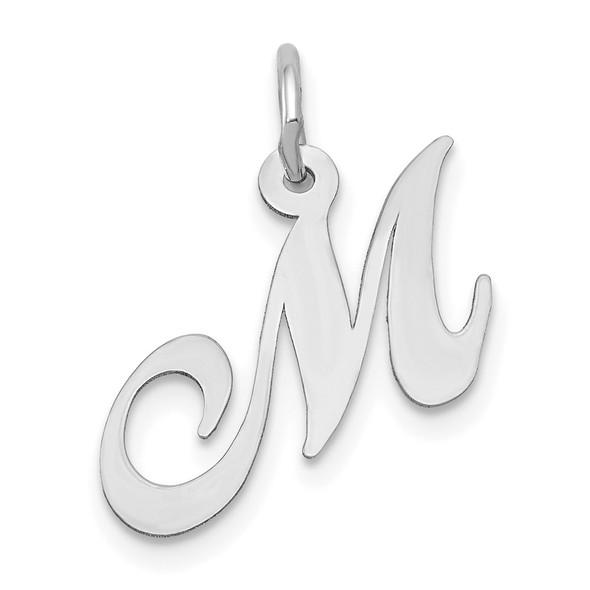 14K White Gold Small Fancy Script Initial M Charm
