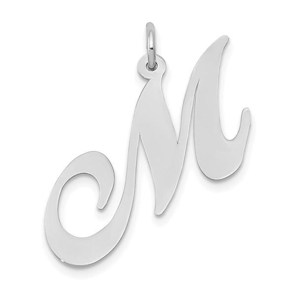 14K White Gold Large Fancy Script Initial M Charm