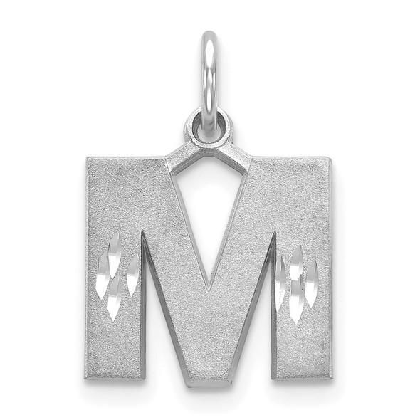 14K White Gold Solid Satin Diamond-cut Initial M Charm