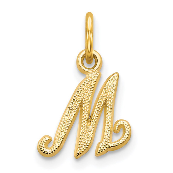 14k Yellow Gold Casted Initial M Charm