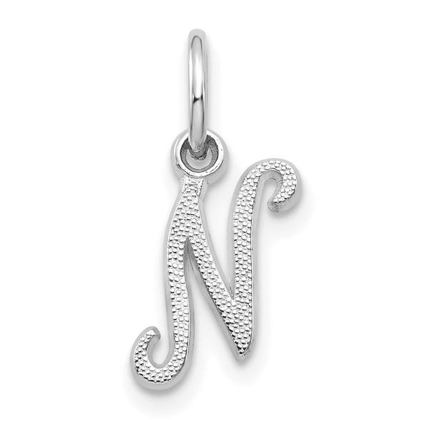 14k White Gold Casted Initial N Charm