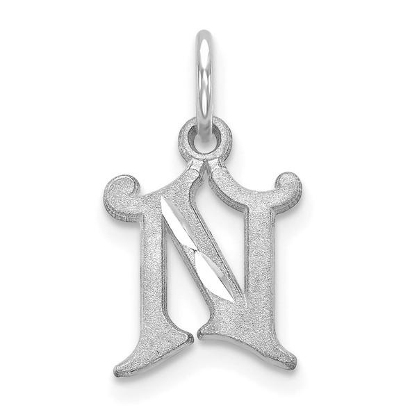 14K White Gold Diamond-cut Initial N Charm