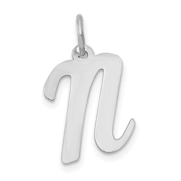14K White Gold Medium Script Initial N Charm