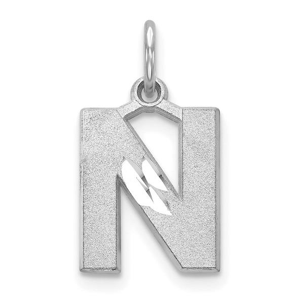 14K White Gold Solid Satin Diamond-cut Initial N Charm