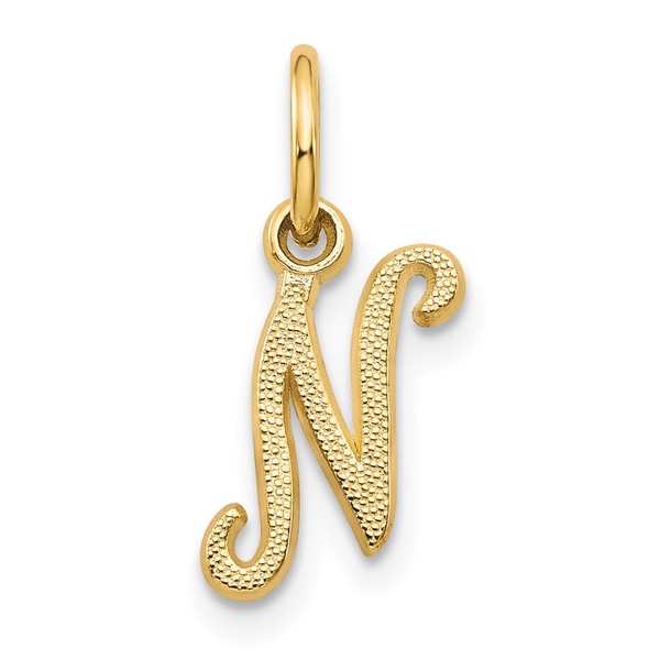 14k Yellow Gold Casted Initial N Charm